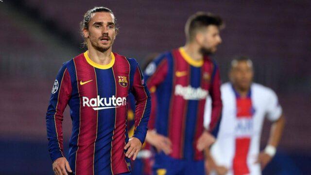 درگیری و فحاشی پیکه و گریزمان در بازی رفت بارسلونا و پاریسن ژرمن (ucl 2021)