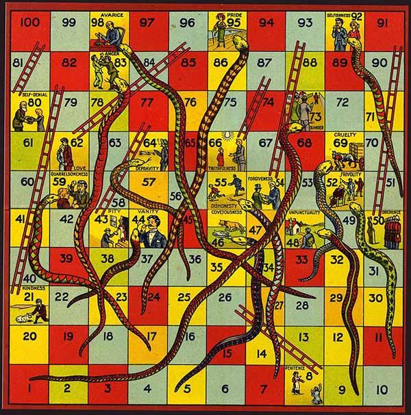 مار و پله : نسخه قدیمی مربوط به دوره ویکتوریایی با فضایل و رذایل متناسب با فرهنگ انگلیسی